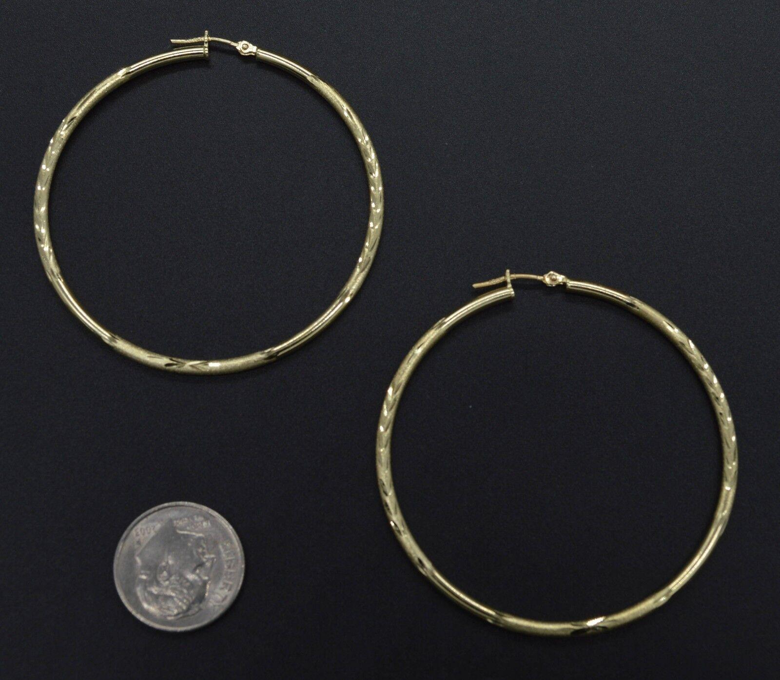 14k Solid Yellow Gold big Large hoop Diamond Cut Earrings 45mm x2MM 2.6GR