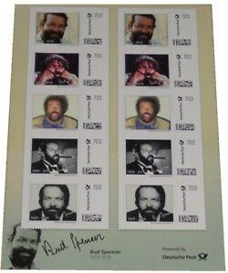 Bud-Spencer-Briefmarken-10-x-7-Euro-Briefmarkenbogen-Limited-Edition