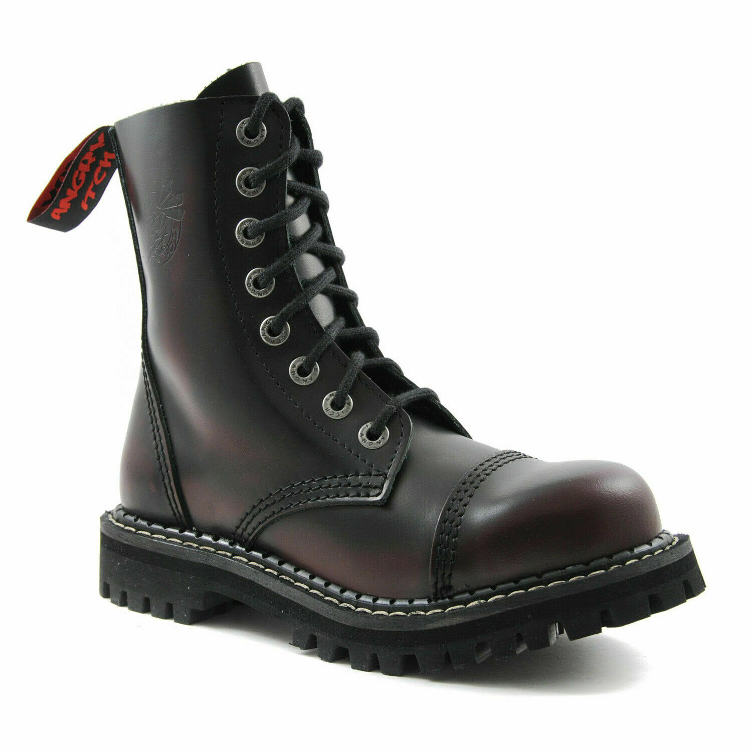 Angry Itch Stiefel 8 Hole Punk Burgundy Leather Army Ranger Stiefel With Steel Toe