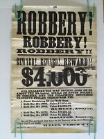 Robbery Reward Vintage Head Shop Poster Wells Fargo 1970's Salt Lake City 1871