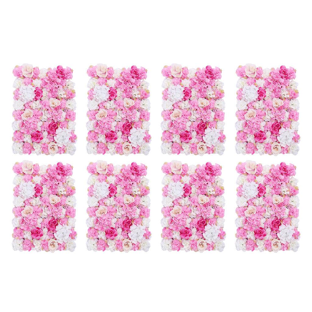 8x Soie Artificielle Fleur Mur Panneau Mariage Home Shop Window Decor Rose Chaud