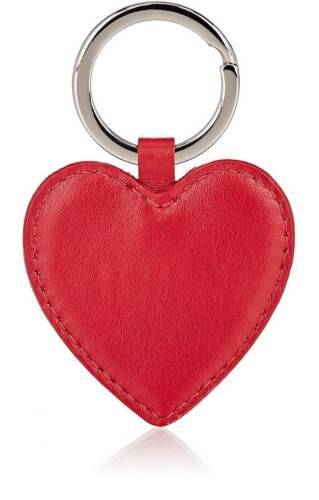 BARNEYS NEW YORK Heart Key Ring Chain Keychain Fob Red Leather New W// Tags