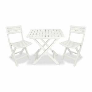 Camping Set 2 Sedie 1 Tavolo Pieghevoli In Plastica Bianco Ebay