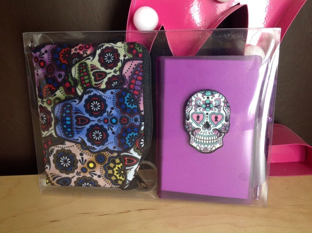 Purple Goth day of The dead sugar skull notebook +pen +purse 3pc Boxed Gift Set