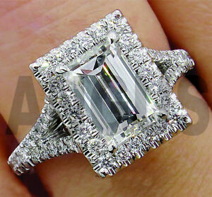 2-56ct-Emerald-Anniversary-Halo-Diamond-Engagement-Bridal-Ring-14k-White-Gold