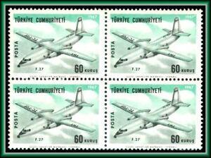 1967-TURKEY-RARE-ERROR-BLOCK-OF-4-SCT-C40-MICHEL-2047FI-GUM-MISSING-COLOR-RED