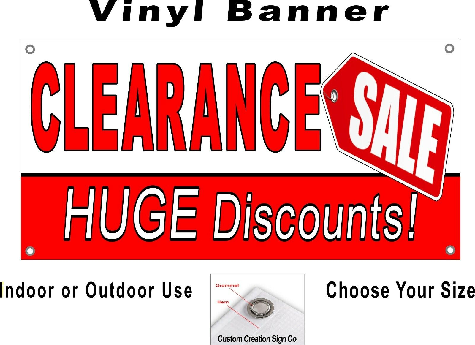 CLEARANCE SALE Huge Discounts Banner sign Your Choice of sizes, Free  Shipping