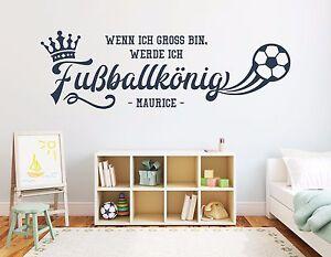 Details Zu Wandtattoo Mit Name Fussballkonig Jungen Wunschname Kinderzimmer Fussball Pkm183