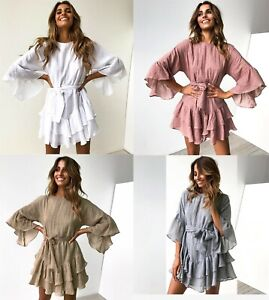Women-Summer-Short-Sleeve-Strappy-Ruffle-Dresses-Ladies-Holiday-Swing-Midi-Dress