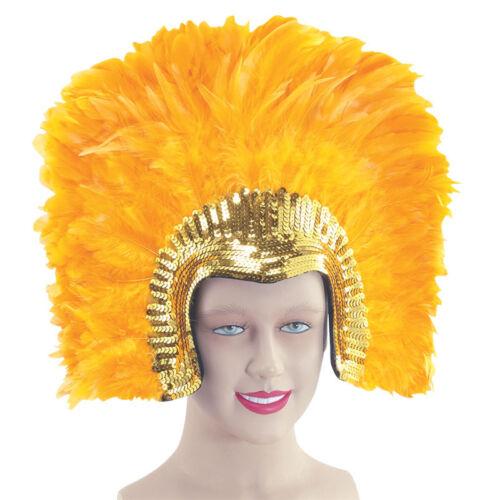 Copricapo PIUME Deluxe Viola Oro Nero Costume Adulto Festa Accessorio