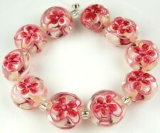 Lampwork Handmade Glass Crystal Beads Pink Flower Lentil Jewelry Making Craft