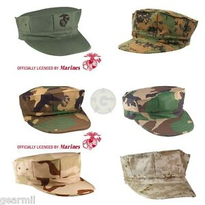 Marine-Corps-Fatigue-Cap-USMC-8-Point-Cover-Licensed-Desert-amp-Woodland-Camo-NEW