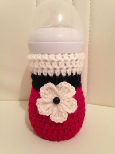 hand crochet 3D FLOWER baby bottle cover tommee tippee dr brown MAM Nuk