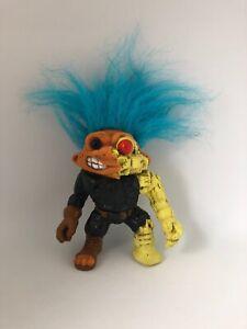 Vintage 1992 Battle Troll Warrior General Troll Action Figure Toy Doll By Hasboro Blue Hair