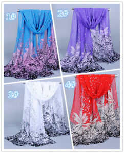 New-Women-039-s-Multi-Color-Real-Chiffon-Long-Scarf-Shawl-Wrap-034-Floral-034-Print