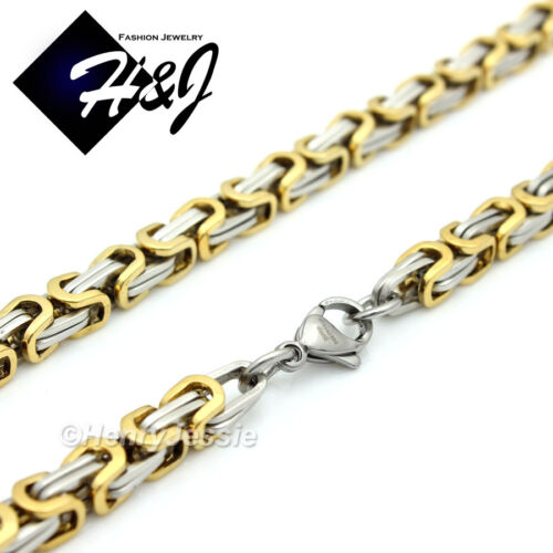 """18-40/""""MEN Stainless Steel 4//6//9mm Gold Silver Box Link Chain Necklace Bracelet*S"""