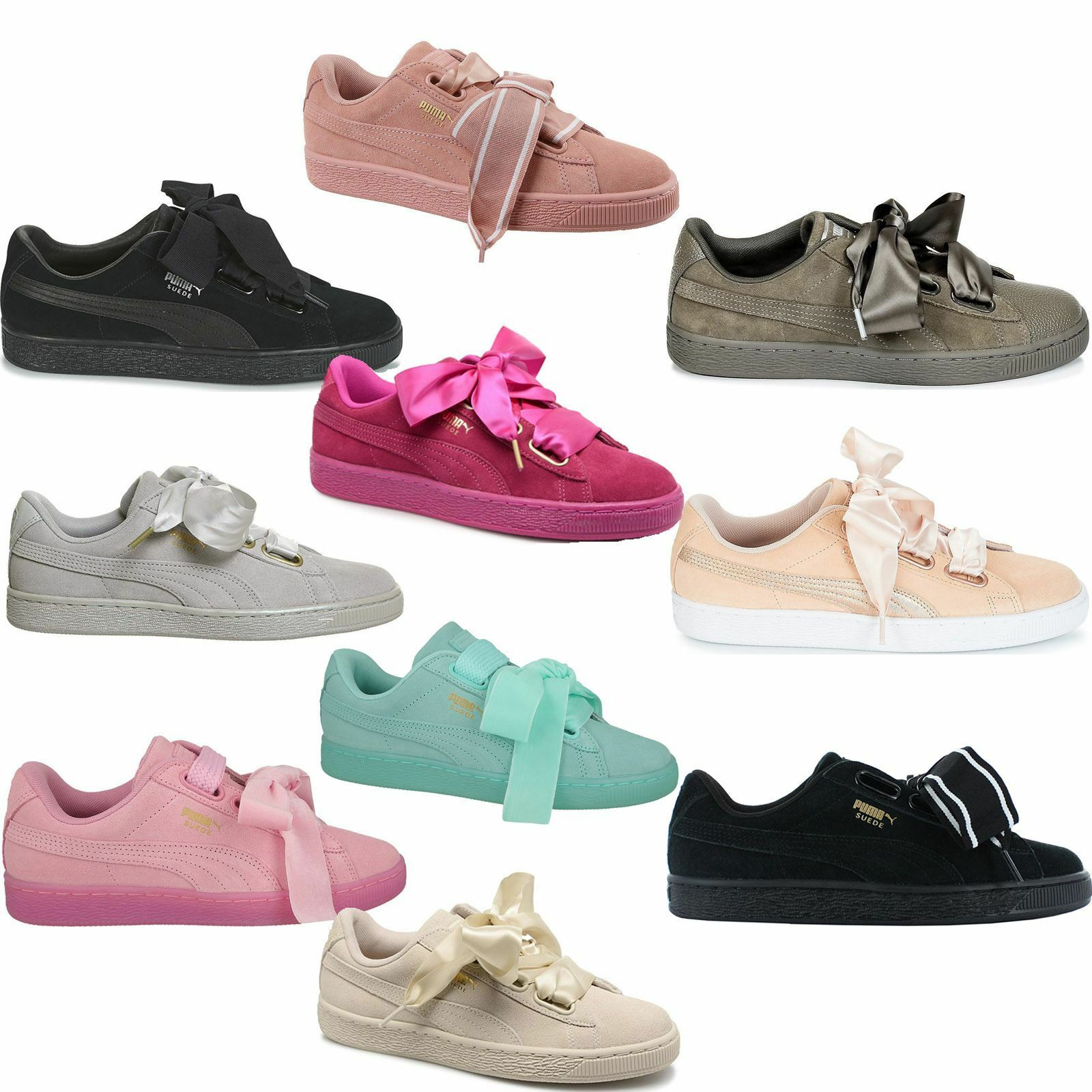 d155994c91a213 PUMA Suede Heart EP Women s Casual Trainers Black 41 for sale online ...