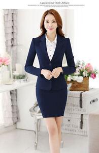 Elegant Office Lady Blazer Skirt Suit Formal Women Business Suit