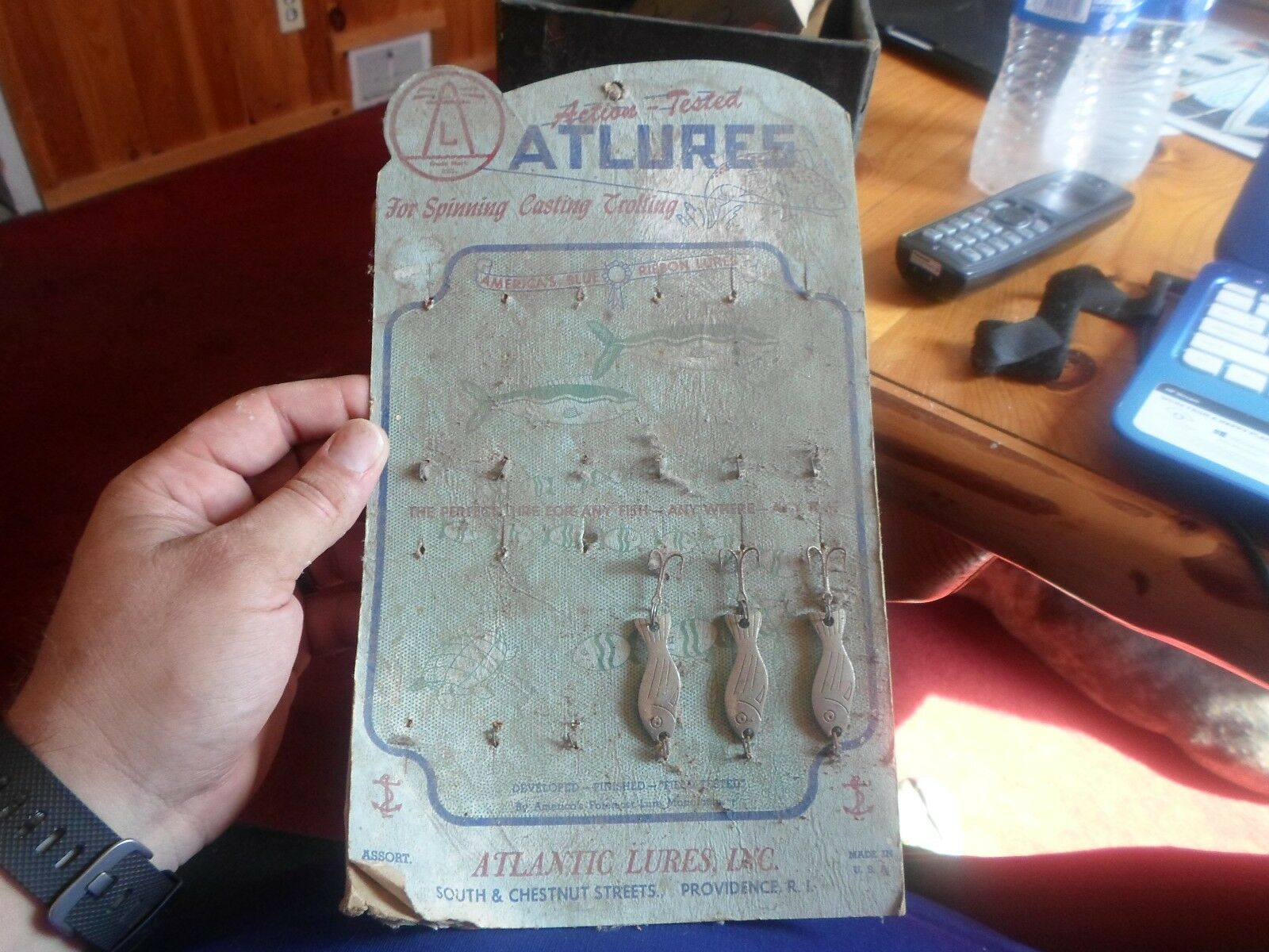 3 Vintage ATLURES Action Tested Atlantic Lures Inc metal fishing lure on card
