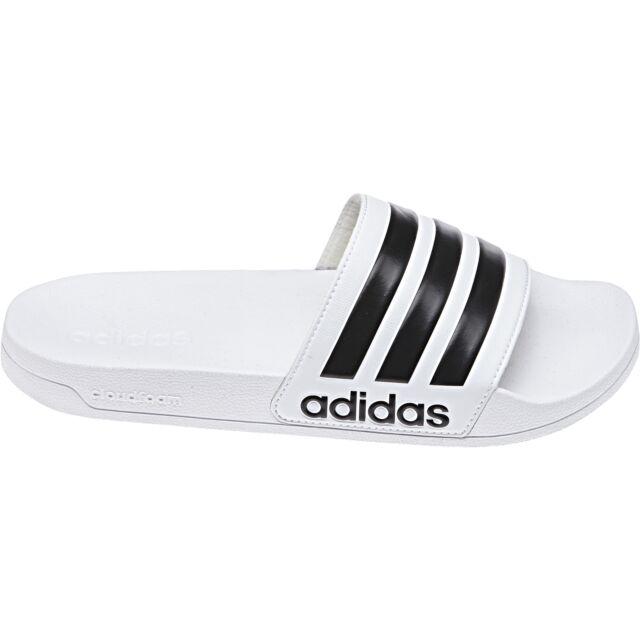 37c15dda11032 Adidas Adultes Néo Tongs Cloudfoam Adilette Blanc   Noir EUR 40.5   eBay