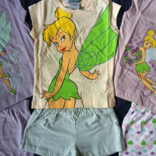 Official Licensed Girls Disney Tinkerbell Pyjamas PJs Set Glitter Shorts TShirt