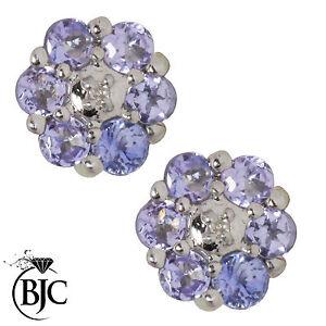 BJC-9kt-Oro-Bianco-Tanzanite-Naturale-amp-Orecchini-A-Lobo-Con-Diamante-Borchie