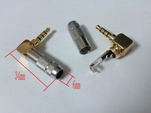 20pcs brass 3.5mm Plug 4 Pole Angled Jack Solder DIY Silver