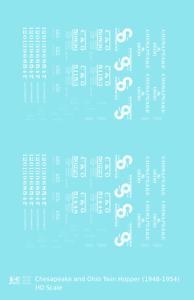 K4-HO-Decals-Chesapeake-and-Ohio-Offset-Twin-Hopper-White-C-amp-O-1948-1954