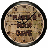 Brown Rock Man Cave Wall Clock Personalized Gift Add A Name Free 10 Inch