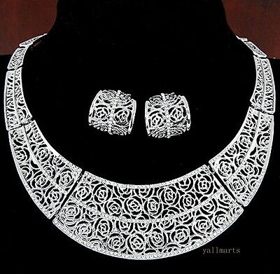 Vintage Flower Charm Women Chain Pendant Statement Bib Collar Necklace Earrings