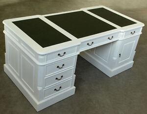 Bureau double anglais cm meuble en bois acajou blanc shabby