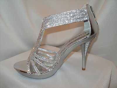 Women's Silver Strappy Prom Wedding  Dress Sandal Heel Shoe Rhinestones