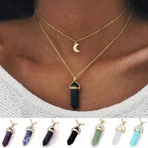 Fashion-Crystal-Opals-Natural-Stone-Pendant-Necklace-Double-Layer-Choker-Jewelry