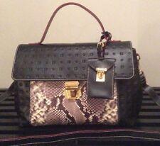 NWT Arcadia Soft Italian Leather Handbag Purse Black Python & Gold Accents