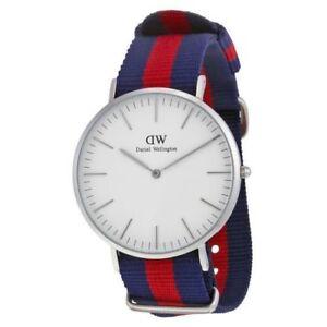 Daniel-Wellington-Men-039-s-Classic-Oxford-0201DW-Blue-Cloth-Quartz-Watch