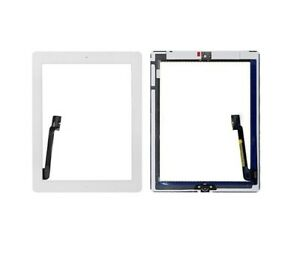 For iPad 4 Digitizer White Replacement Touch Screen Front Glass Adhesive Button