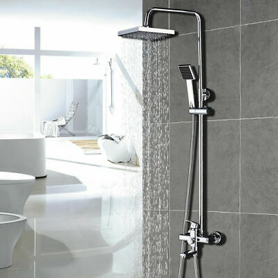 "8/"" Rainfall Chrome Bathroom Shower Faucet Tub Mixer Tap W//Handheld Wall Mounted"