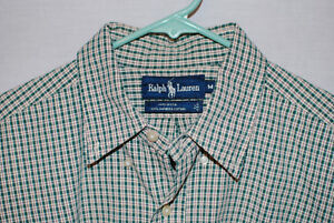 Vintage-Polo-Ralph-Lauren-L-S-Textured-Plaid-Mens-Shirt-Made-in-USA-Size-M-NWOT