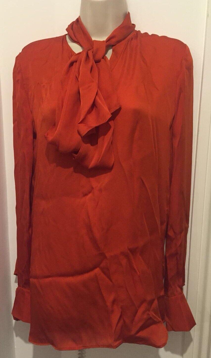 STELLA MCCARTNEY Orange Silk Top with Pussy Bow Größe IT 42