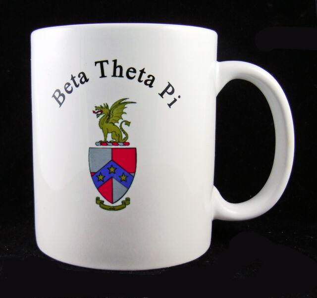 Beta Theta Pi, ΒΘΠ, Coffee Mug Cup Crest 2 Sides White Porcelain By McCartney