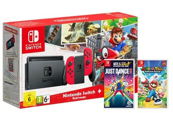 Nintendo Switch Super Mario Bundle  + Mario & Rabbids Kingdom + Just Dance 18