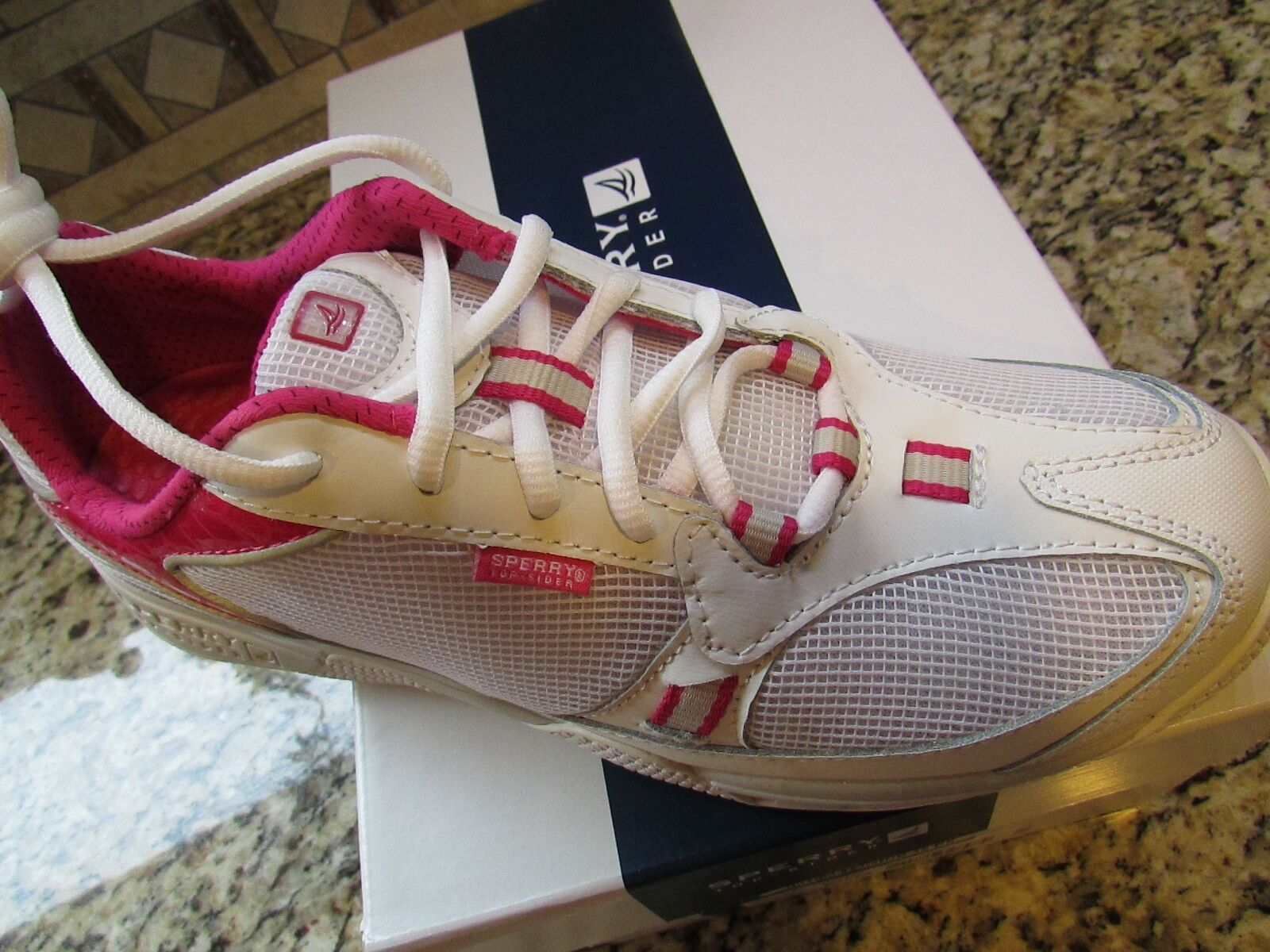 NEUS SPERRY TOP-SIDER SEA KITE ATHLETIC Schuhe Damenschuhe 9 WEISS PINK  FREE SHIP