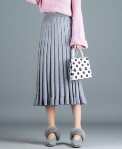 Womens High Waist A Line Thicken Knitted Pleated Skirt Mid Calf Dress Winter New