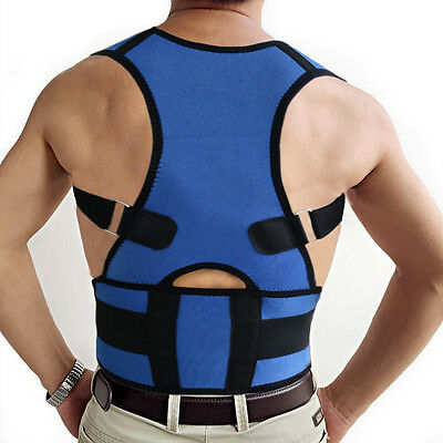 Men Fully Adjustable Posture Back Support Corrector Brace Shoulder Band Belt