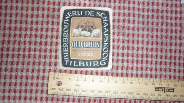 1950s NETHERLANDS BEER LABEL, BIERBROUWERIJ DE SCHAAPSKOOI TILBURG HOLLAND O/B