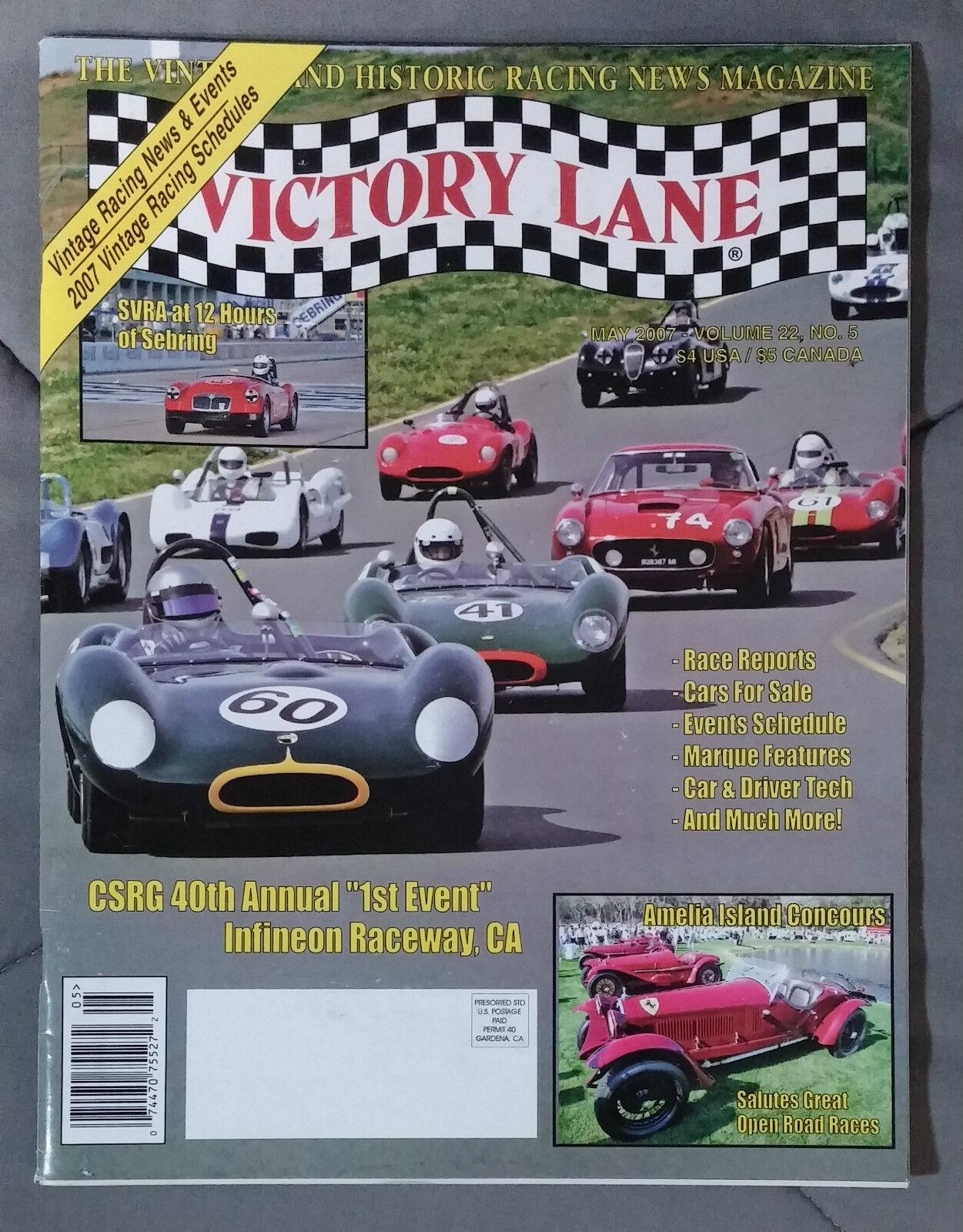 VICTORY LANE HISTORIC RACING NEWS VINTAGE MAGAZINE 2007 MAY CSRG ...