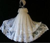 Luxury Toddler Baby Girl Baptism Dress Christening Gown Custom Lace Robe Bonnet