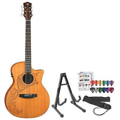 Guitars & Basses Kind-Hearted Luna Guitars Ocl Tat Cdr Oracle Tattoo Cedar Acoustic-electric Guitar W/ Stand Easy To Lubricate