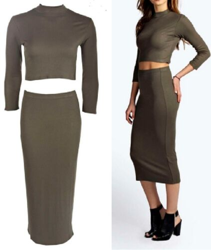 Ladies Womens Ribbed High Neck Crop Top and Pencil Midi Skirt Size 6,8,10,12
