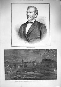 Original-Old-Antique-Print-1874-Livingstone-Marriage-Duke-Edinburgh-Castle-Town